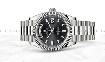 Rolex Day-Date 40 228239-0005 18K White Gold with Diamond Set Black Dial