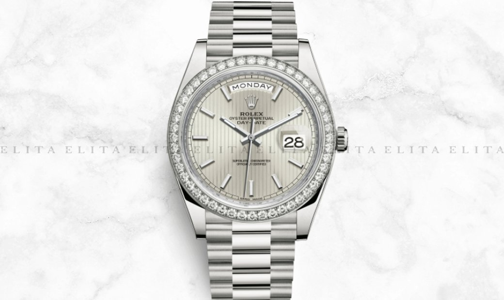 Rolex Day-Date 40 228349RBR-0007 18K White Gold Silver Stripe Motif Dial Diamond Set Bezel