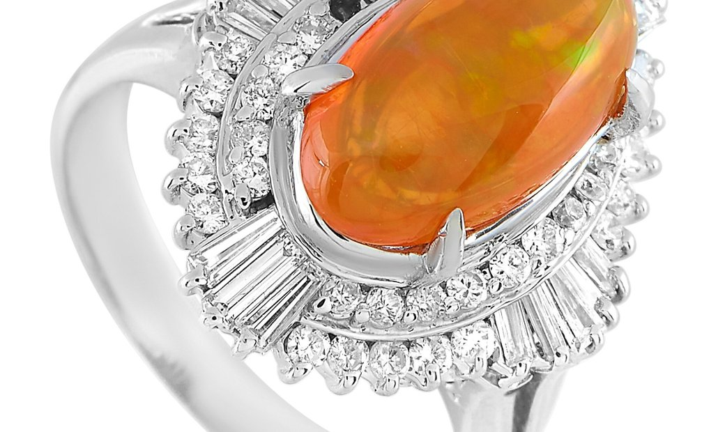 LB Exclusive LB Exclusive Platinum 0.78 ct Diamond and Opal Ring