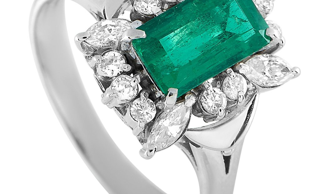 LB Exclusive LB Exclusive Platinum 0.45 ct Diamond and Emerald Ring