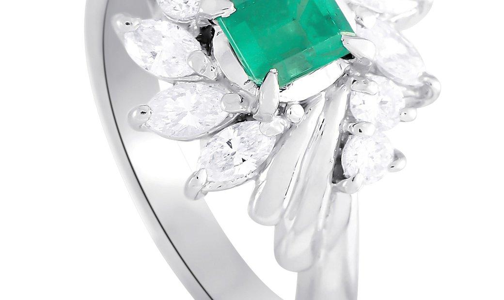 LB Exclusive LB Exclusive Platinum 0.65 ct Diamond and Emerald Ring