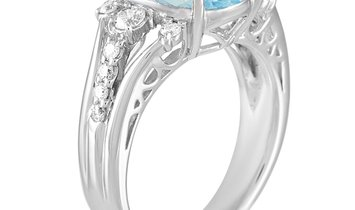 LB Exclusive LB Exclusive Platinum 0.58 ct Diamond and Aquamarine Ring