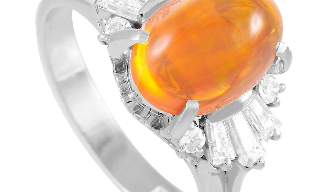 LB Exclusive LB Exclusive Platinum 0.48 ct Diamond and Opal Ring