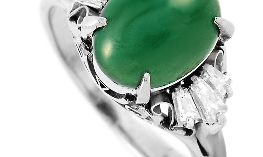 LB Exclusive LB Exclusive Platinum 0.28 ct Diamond and Jade Ring