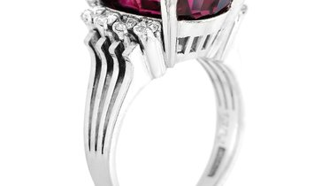 LB Exclusive LB Exclusive 14K White Gold 0.15 ct Diamond and Rhodolite Garnet Ring