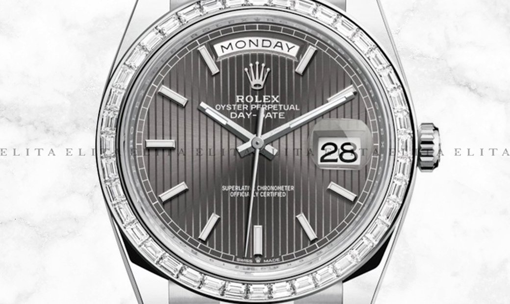 Rolex Day-Date 40 228396TBR-0023 Platinum Dark Rhodium Stripe Motif Dial Diamond Set Bezel