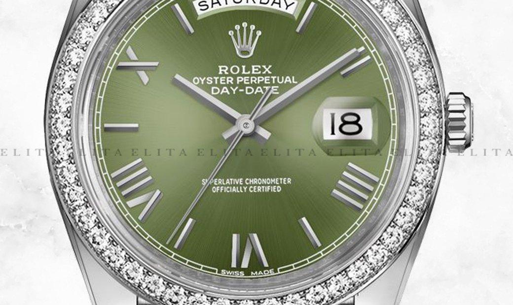 Rolex Day-Date 40 228349RBR-0030 18K White Gold Olive-Green Dial Diamond Set Bezel