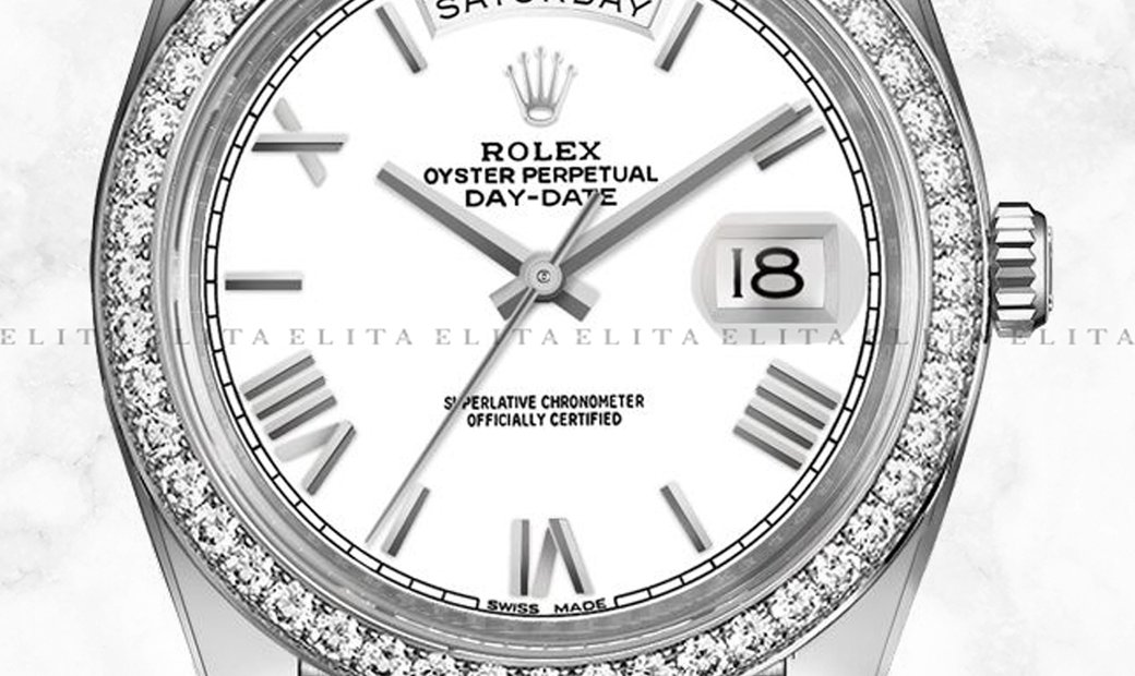 Rolex Day-Date 40 228349RBR-0039 18K White Gold White Coloured Dial Diamond Set Bezel
