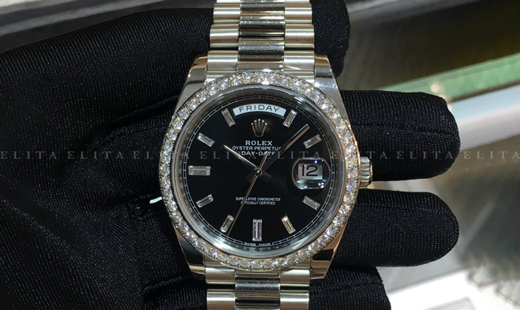 Rolex Day-Date 40 228349RBR-0003 18K White Gold Diamond Set Black Dial