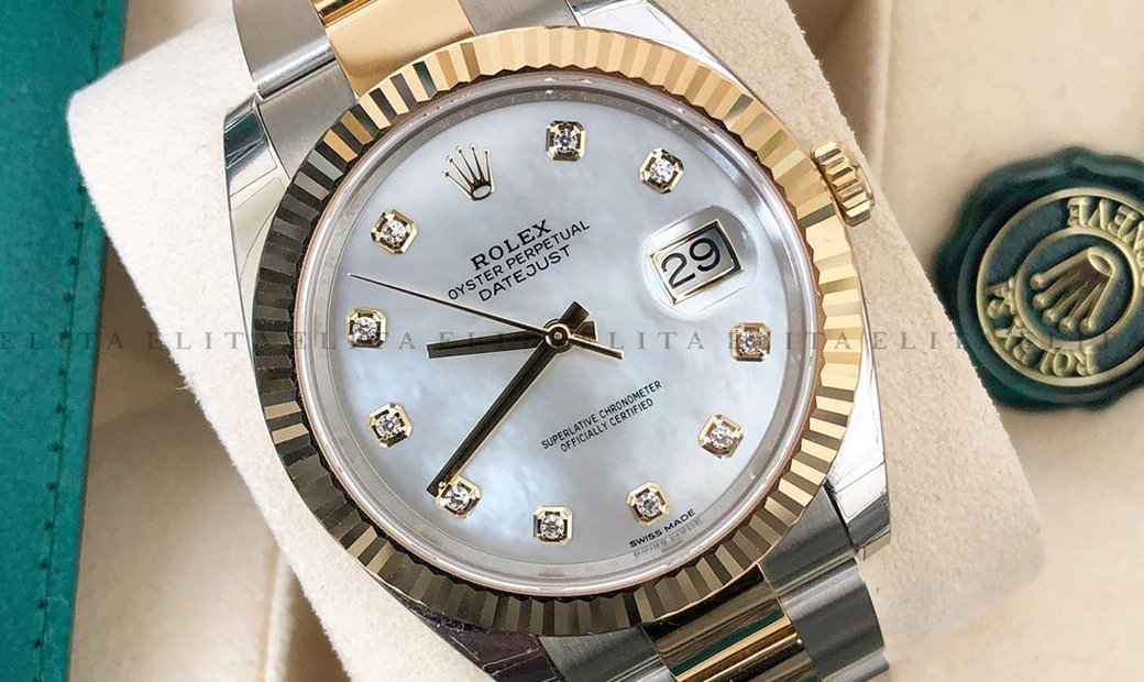 Rolex Datejust 41 126333-0017 Oystersteel and Yellow Gold Diamond Set White Mother of Pearl Dial