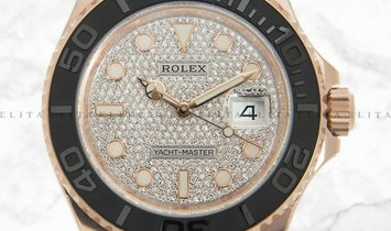 Rolex Yacht Master 40 126655-0005 18K Everose Gold with Diamond Paved Dial Oysterflex Bracelet