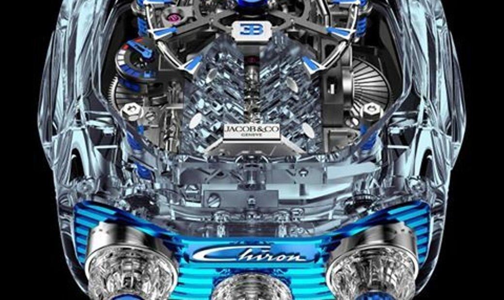 Jacob & Co. 捷克豹 Bugatti Chiron Sapphire 16 Cylinder Piston Engine Tourbillon