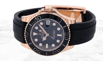 Rolex Yacht Master 37 268655-0010 18K Everose Gold Matt Black Ceramic Bezel Black Dial