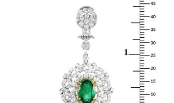 LB Exclusive LB Exclusive 18K White and Yellow Gold 3.71 ct Diamond and Emerald Earrings