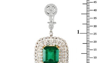 LB Exclusive LB Exclusive 18K White and Yellow Gold 5.68 ct Diamond and Emerald Earrings