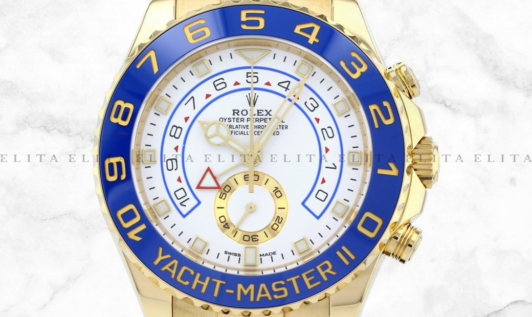 Rolex Yacht Master II 116688-0002 18K Yellow Gold Blue Ceramic Bezel White Dial