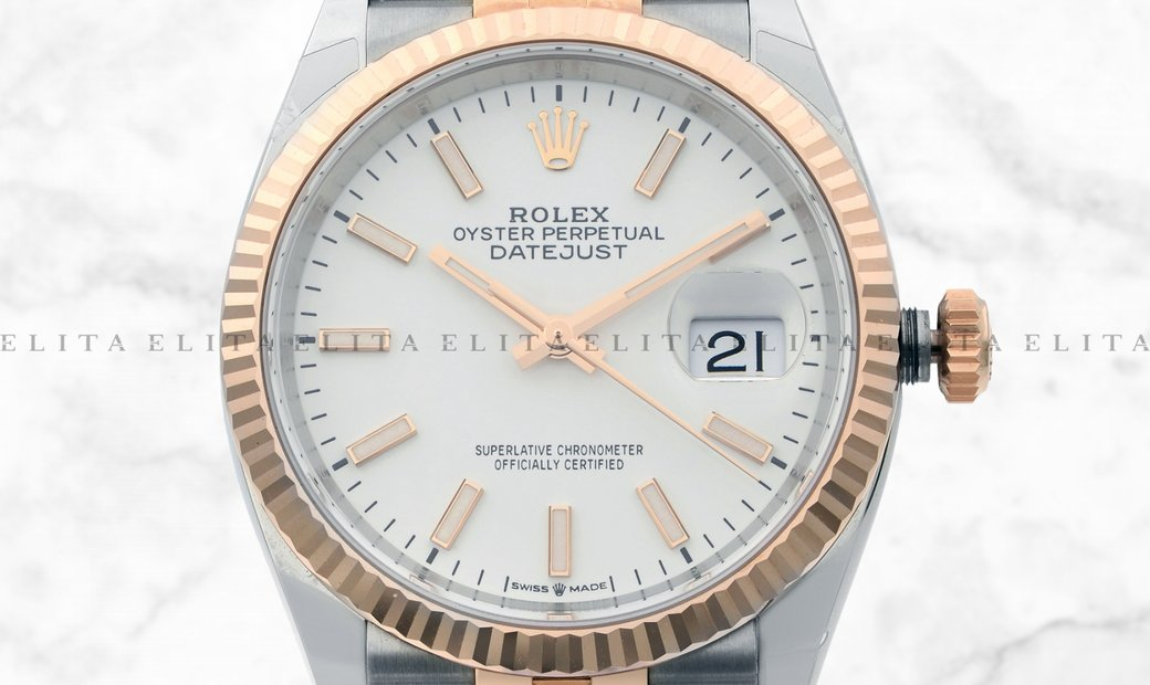 Rolex Datejust 36 126231-0017 Everose Gold and Oystersteel White Dial Jubilee Bracelet