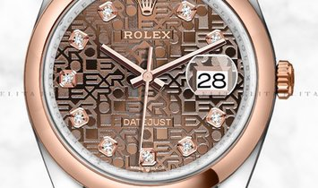 Rolex Datejust 36 126201-0026 Everose Rolesor with Diamond Set Chocolate Jubilee Dial