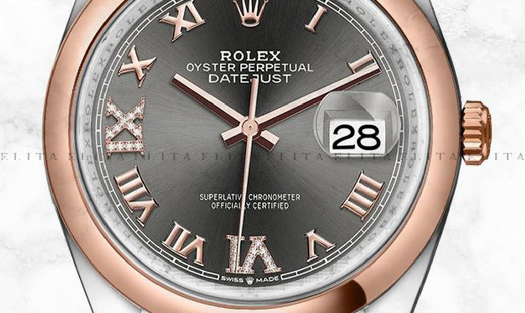Rolex Datejust 36 126201-0023 Everose Rolesor Dark Rhodium Dial Diamond Roman Numerals