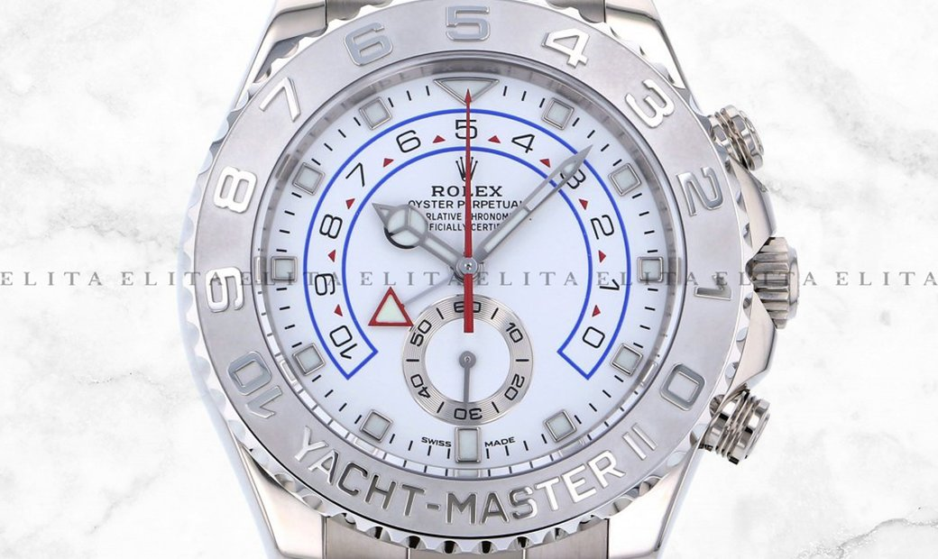 Rolex Yacht Master II 116689-0002 18K White Gold and Platinum White Dial