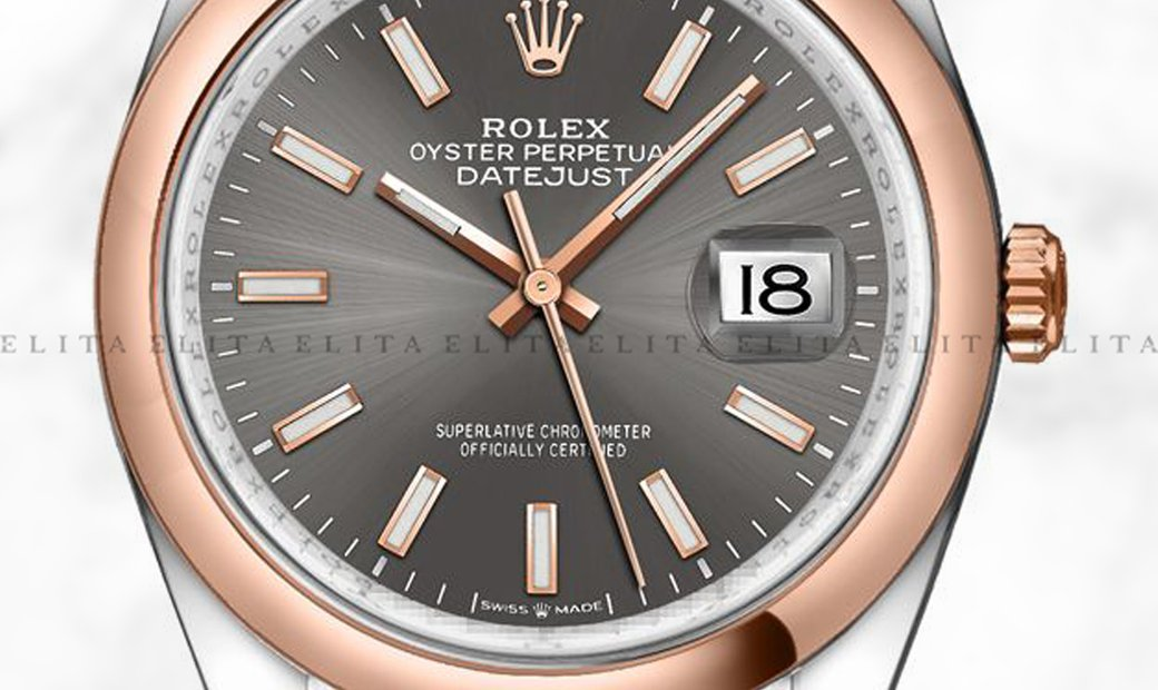 Rolex Datejust 36 126201-0013 Oystersteel and Everose Gold Dark Rhodium Dial Jubilee Bracelet