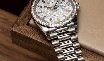 Rolex Day-Date 36 128349RBR-0006 18K White Gold Diamond-Paved Dial Diamond Set Bezel