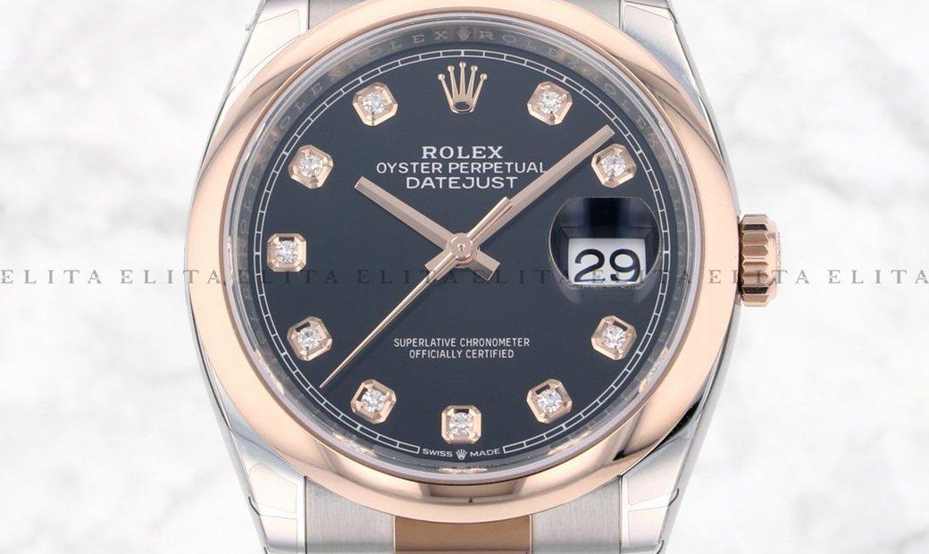 Rolex Datejust 36 126201-0020 Oystersteel and Everose Gold Diamond Set Black Dial Oyster Bracelet