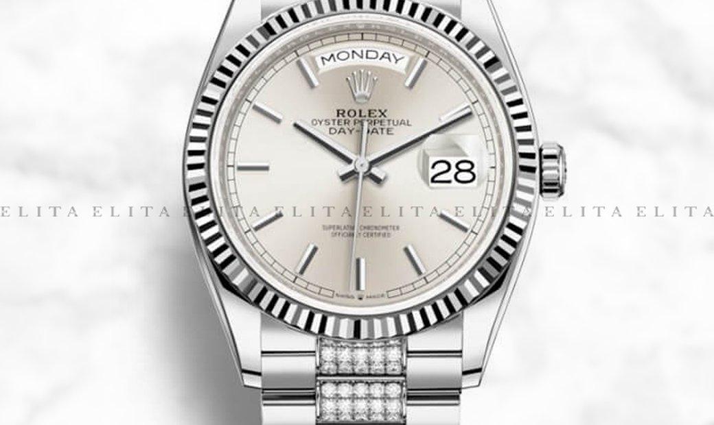 Rolex Day-Date 36 128239-0025 18K White Gold Silver Dial Diamond Set Bracelet