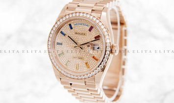 Rolex Day-Date 36 128345RBR-0042 18K Everose Gold Diamond Paved Dial