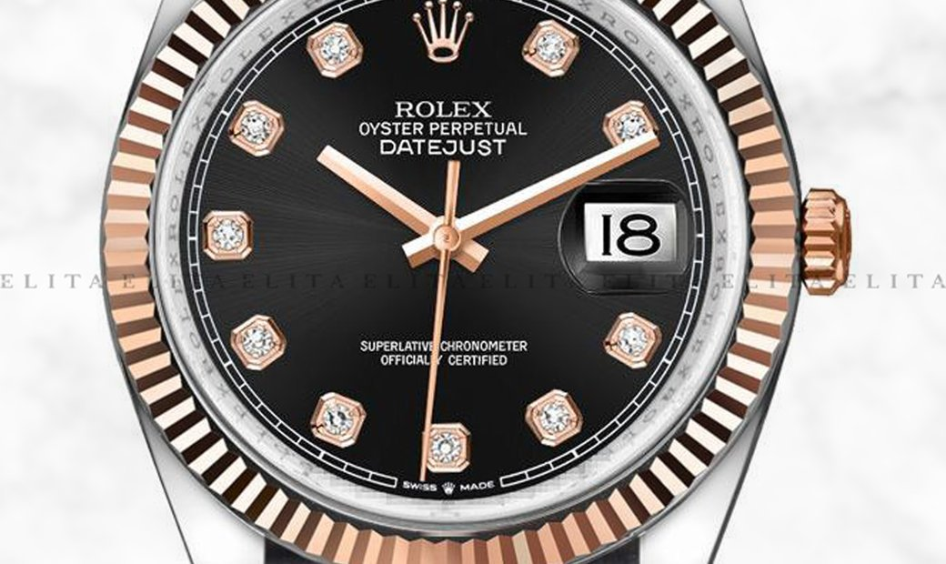 Rolex Datejust 36 126231-0020 Oystersteel and Everose Gold Diamond Set Black Dial Oyster Bracelet