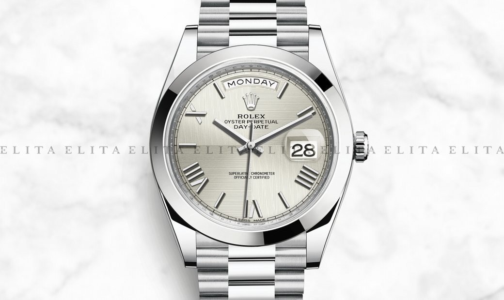 Rolex Day-Date 40 228206-0014 Platinum with Silver Quadrant Motif Dial