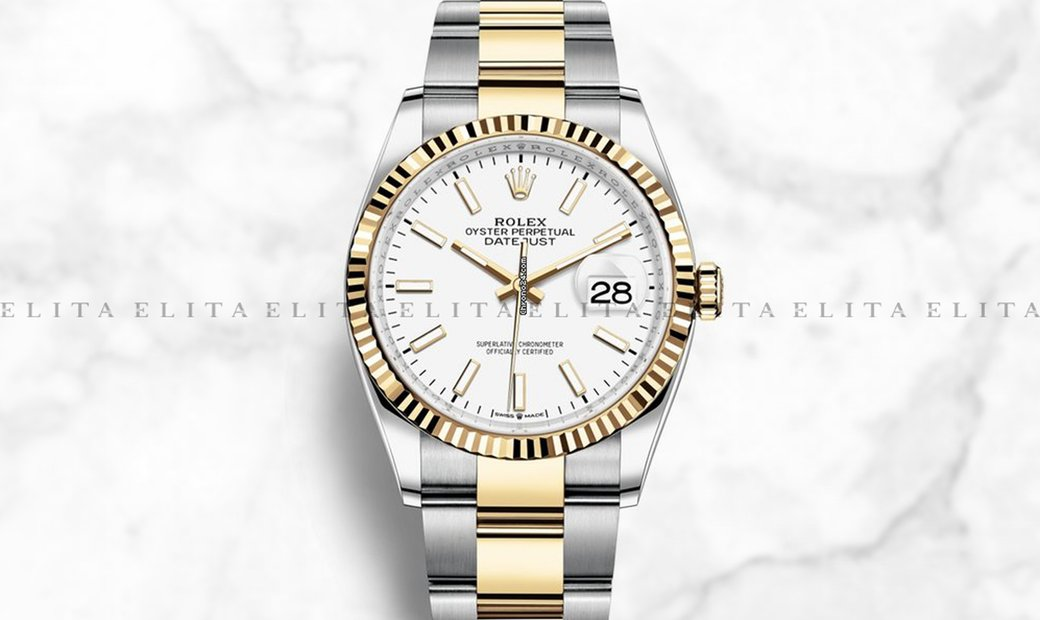 Rolex Datejust 36 126233-0020 Oystersteel and Yellow Gold White Dial Oyster Bracelet