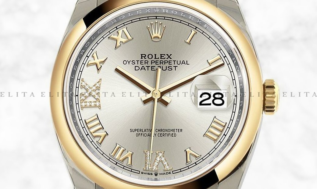 Rolex Datejust 36 126203-0032 Oystersteel and Yellow Gold Diamond Set Silver Dial Roman Numerals