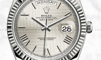 Rolex Day-Date 40 228239-0006 White Gold with Silver Quadrant Motif Dial