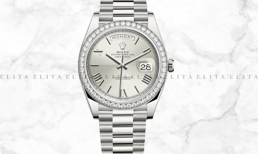 Rolex Day-Date 40 228349RBR-0004 White Gold with Silver Quadrant Motif Dial Diamond Bezel
