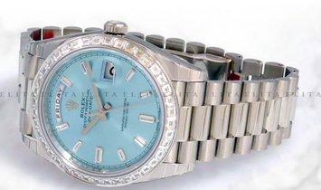 Rolex Day-Date 40 228396TBR-0002 Platinum Diamond Set Ice Blue Dial, Diamond Bezel