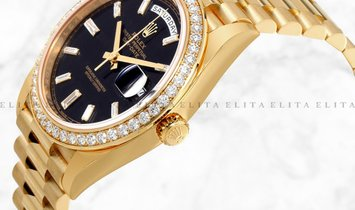 Rolex Day-Date 40 228348RBR-0001 18 Ct Yellow Gold Diamond Set Black Dial Diamond Bezel