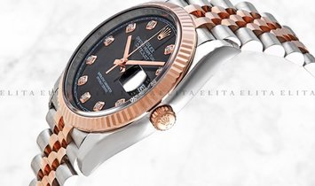 Rolex Datejust 36 126231-0019 Oystersteel and Everose Gold Diamond Set Black Dial Jubilee Bracelet