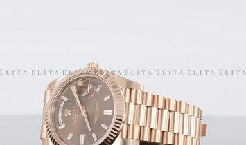 Rolex Day-Date 40 228235-0003 18K Everose Gold Chocolate Diamond Set Dial