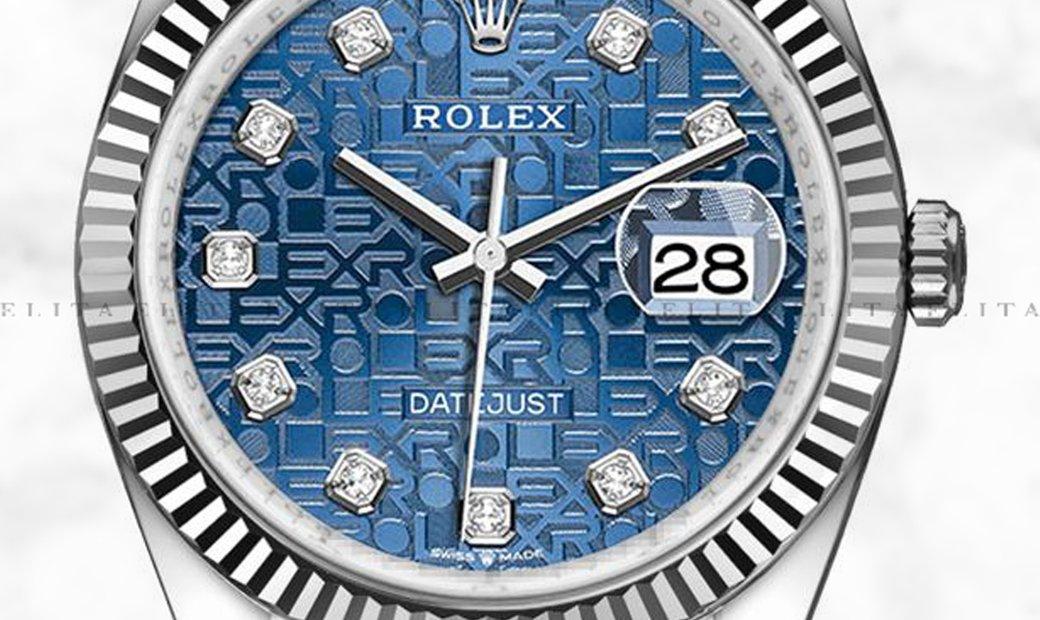 Rolex Datejust 36 126234-0011 White Rolesor Diamond Set Blue Jubilee Design Dial Jubilee Bracelet