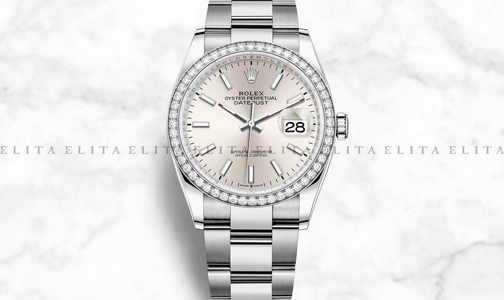 Rolex Datejust 36 126284RBR-0006 White Rolesor Silver Dial Diamond Bezel Oyster Bracelet