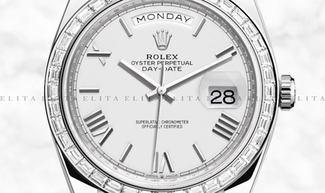 Rolex Day-Date 40 228396TBR-0018 Platinum White Dial Diamond Set Bezel