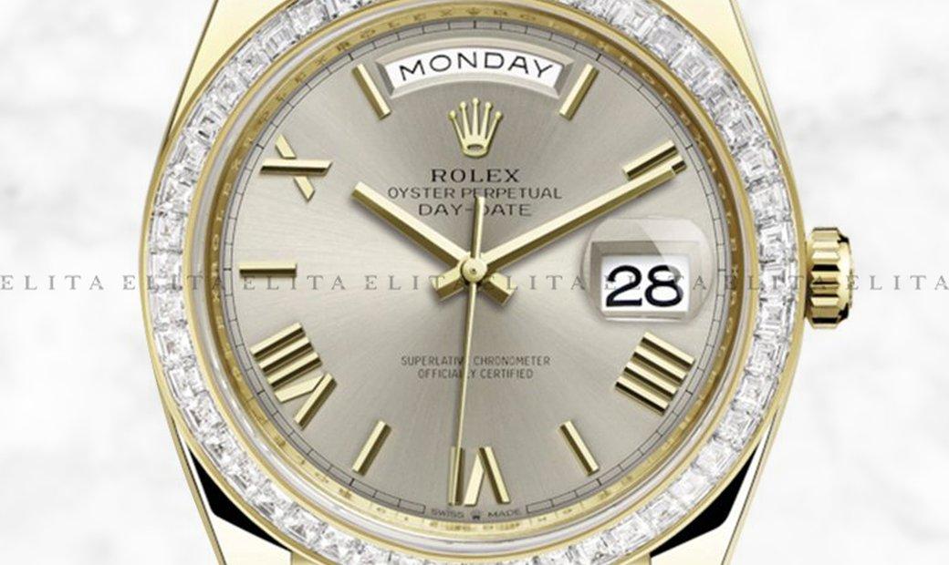 Rolex Day-Date 40 228398TBR-0006 18K Yellow Gold Silver Dial Diamond Set Bezel