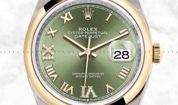 Rolex Datejust 36 126203-0026 Yellow Rolesor Diamond Set Olive Green Dial Oyster Bracelet