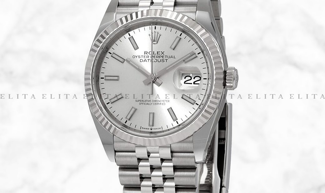 Rolex Datejust 36 126234-0013 Oystersteel and White Gold Silver Dial Jubilee Bracelet