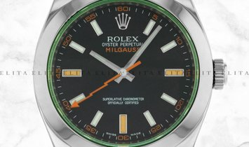Rolex Milgauss 116400GV-0001 Oystersteel Black Dial Green Sapphire Crystal