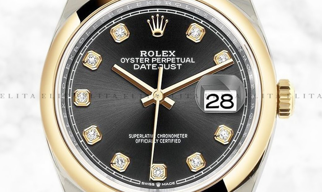 Rolex Datejust 36 126203-0022 Oystersteel and Yellow Gold Diamond Set Black Dial Oyster Bracelet