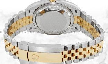 Rolex Datejust 36 126203-0025 Yellow Rolesor Diamond Set Green Dial Roman Numerals Jubilee Bracelet