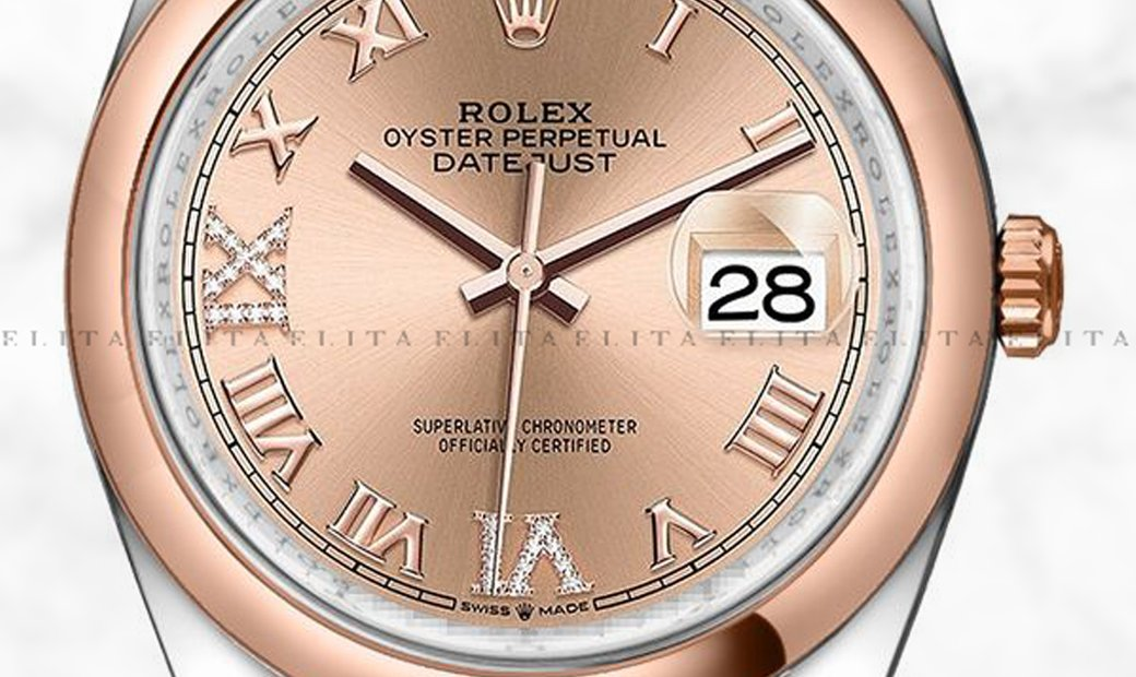 Rolex Datejust 36 126201-0027 Oystersteel and Everose Gold Diamond Set Rose Coloured Dial