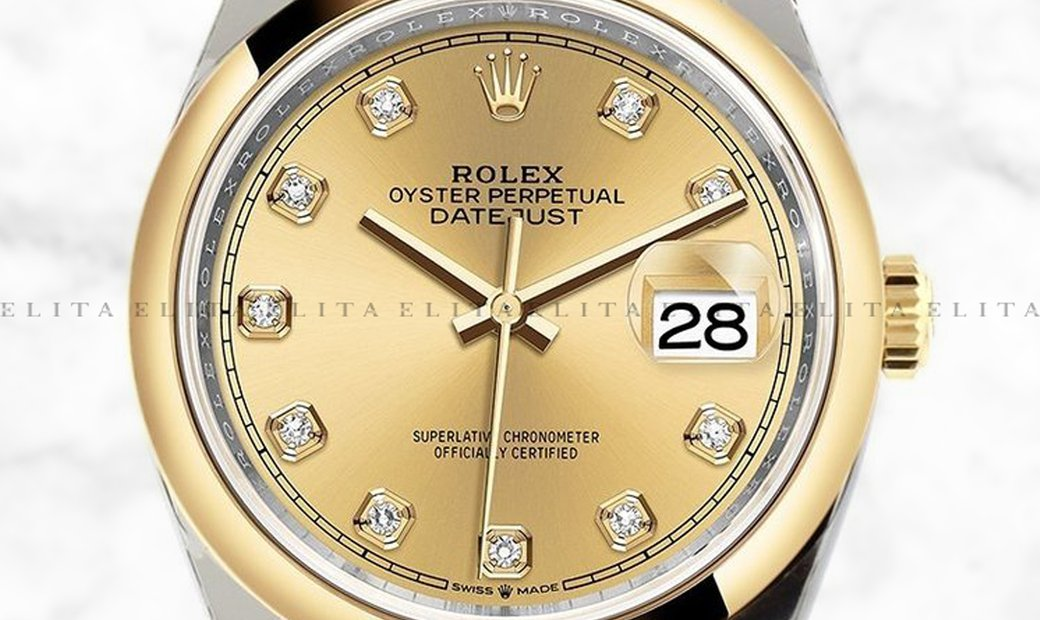 Rolex Datejust 36 126203-0017 Yellow Rolesor Diamond Set Champagne Colour Dial Jubilee Bracelet